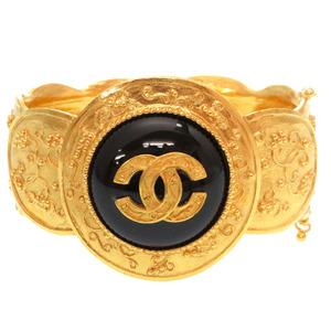 Chanel Vintage Black Stone Gold Coco Mark Bangle Accessory 0135 CHANEL
