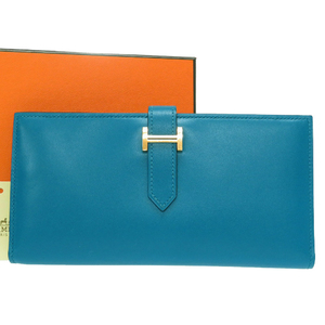 Hermes Beansfre Taderact Blue Izmir Gold Hardware Long Wallet A Stamp (Made in 2017) 0147HERMES