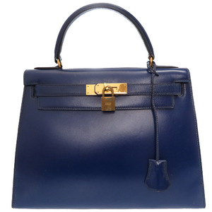 Hermes Kelly 28 outside sewing box calf blue gold metal fittings hand bag 〇 O stamp 0088HERMES