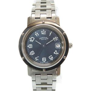 Hermes clipper quartz watch CL4.210 stainless blue dial 0013HERMES ladies