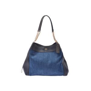 Coach Chain Tote Bag Blue / Navy Ladies Denim Leather AB Rank COACH Used Ginzo