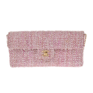 Chanel Chain Shoulder Bag Pink / White GP Hardware Ladies Tweed AB Rank CHANEL Gala Used Ginzo