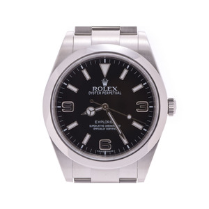 Rolex Explorer 1 Old Black Dial 214270 Random Number Men's SS Automatic Wrist Watch A Rank ROLEX Box Gala Used Ginzo