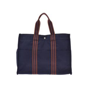 Hermes Foolto GM Navy / Brown Men's Women's Canvas Tote Bag AB Rank HERMES Used Ginzo