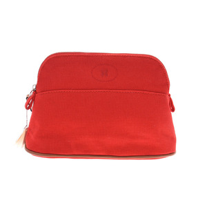 Hermes boreed mini pouch red ladies' men's canvas unused beautiful goods HERMES box used silver warehouse