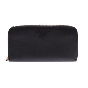 Prada round zipper wallet black logo men's women's saffiano AB rank PRADA box used silver warehouse