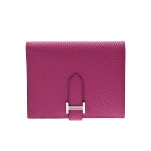 Hermes Bearn compact Rose purple SV metal fittings C stamped ladies men's Epson wallet unused beautiful goods HERMES box used silver warehouse