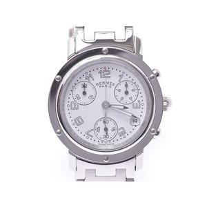 Hermes Clipper Chrono White Dial CL1.310 Ladies SS Quartz Watch A Rank HERMES Box Used Ginzo