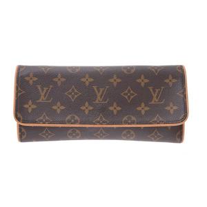 Louis Vuitton Monogram Pochette Twin GM Brown M51852 Women's Men's Genuine Leather Bag B Rank LOUIS VUITTON Used Ginzo