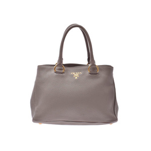 Prada 2WAY Handbag Gray Ladies Leather B Rank PRADA Used Ginzo