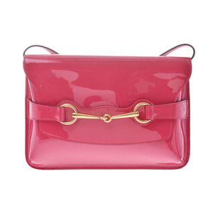 Gucci Horse Pit Shoulder Bag Pink GP Hardware Ladies Enamel A Rank Good Condition GUCCI Used Ginzo