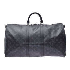 Louis Vuitton Eclipse Keepall Bandierre 55 M40605 Men's Genuine Leather 2WAY Boston Bag New Beauty Goods LOUIS VUITTON With Strap Used Ginzo