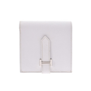 Hermes Bear Lectoberso White SV metal fittings □ L stamp Men's Women's Epson Compact wallet B rank HERMES box Used Ginzo
