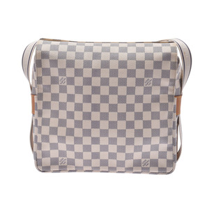 Louis Vuitton Azur Naviglio White N51189 Men Women Genuine Leather Shoulder Bag B Rank LOUIS VUITTON Used Ginzo