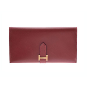 Hermes Bear Classic Rouge Ash GP metal fittings □ F stamp Men's Women's BOX calf wallet AB rank HERMES used silver warehouse