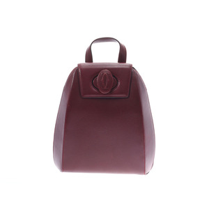 Cartier Must Backpack Bordeaux Women's Leather AB Rank CARTIER Used Ginzo