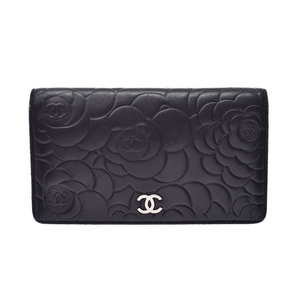 Chanel Camellia Long wallet Black SV metal fittings Ladies lambskin B rank CHANEL box Gala used silver warehouse