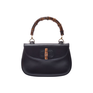 Gucci Bamboo 2WAY handbag black ladies calf A rank GUCCI with strap used Ginzo
