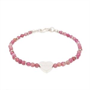 Gucci Heart Charm Silver 925 Rose Quartz Charm Bracelet