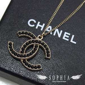 Chanel Coco Mark Fake Pearl Necklace Gold x Black 20190822