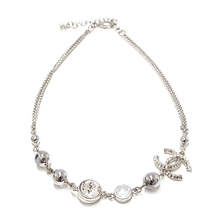 Chanel CHANEL Coco Mark Choker Metal Material Crystal Rhinestone Silver 37-42cm Necklace A18B