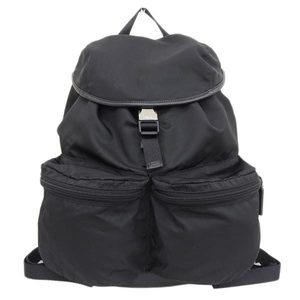 Genuine PRADA Prada nylon rucksack bag pack black V164 leather