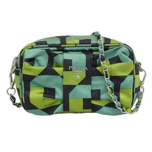 Genuine PRADA Prada Satin Ribbon Chain Shoulder Bag Green BT0767 Leather