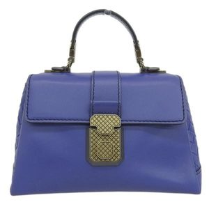 Bottega Veneta Leather Piazza Small Bag 2WAY Handbag Blue