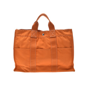 Hermes Deauville MM Orange French Festival Limited Men Women Canvas Tote Bag HERMES B Rank Used Ginzo