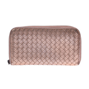 Bottega Veneta Round Fastener Long Wallet Intrechart Pink Gold Ladies Leather B Rank BOTTEGA VENETA Used Ginzo