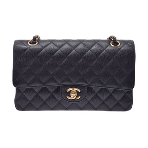 Chanel Matrasse chain shoulder bag black G metal fittings lady's caviar skin double lid A rank CHANEL Gala used silver warehouse