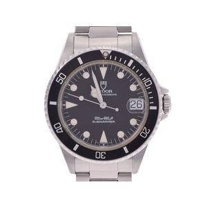 チュードル サブマリーナ 黒文字盤 75090 巻きブレス メンズ SS 自動巻 腕時計 ABランク TUDOR 中古 銀蔵