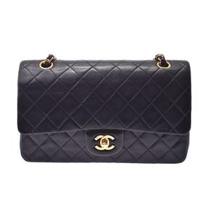 Chanel Matelasse Chain Shoulder Bag 25cm Double Cover Black GP Hardware Ladies Lambskin