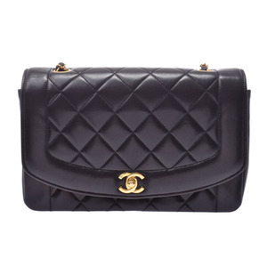 Chanel Matelasse chain shoulder bag Diana black G hardware lady's lambskin