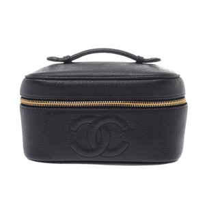 シャネル(Chanel) シャネル 横型バニティ 黒 G金具 レディース キャビアスキン ハンドバッグ Bランク CHANEL ギャラ 中古 銀蔵