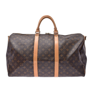 ルイ・ヴィトン(Louis Vuitton) ルイヴィトン モノグラム キーポル50 ブラウン M41416 メンズ レディース 本革 ボストンバッグ ABランク LOUIS VUITTON ストラップ付 中古 銀蔵