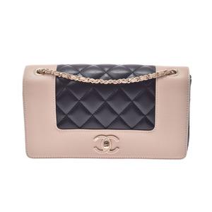 Chanel Mademoiselle Vintage Chain Shoulder Bag Beige / Black G Metal Ladies Leather
