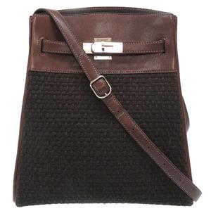 Hermes Kelly Sport MM Wool Tresage Bicolor Leather Brown Black Shoulder Bag 0067 HERMES