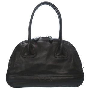 Prada Leather Mini Boston Bag Bowling Hand Black 0170PRADA