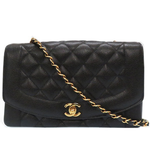 Like new CHANEL MATRASSE Diana caviar skin chain shoulder bag black 0049CHANEL