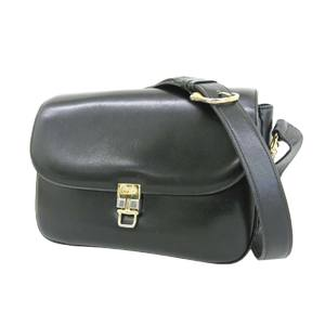 CELINE Celine Carriage Hardware Vintage Shoulder Bag Calf Leather Black 20190917