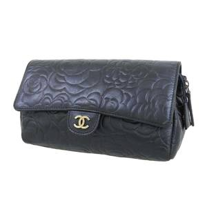 CHANEL Chanel Coco Mark Camellia Magnet Lock Makeup Pouch Lambskin Navy Clutch 20190917
