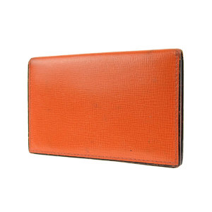 Valextra card case business holder embossed leather orange used 20191001