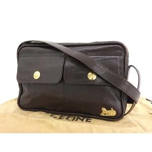 CELINE Celine carriage metal fittings vintage shoulder bag leather dark brown used 20190924