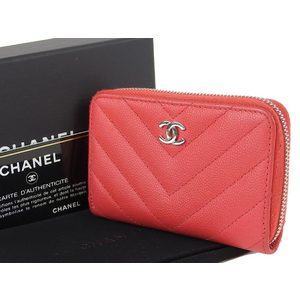 CHANEL Chanel Coco Mark V Stitch Coin Case Round Fastener Leather Red 25 Series 20190917