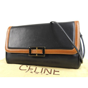 CELINE Celine vintage Macadam fittings 2way shoulder bag clutch leather black camel used 20191001