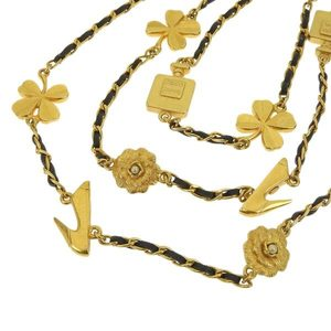 CHANEL Chanel Coco Mark Camelia Icon Motif Long Chain Necklace 2 stations 3 Black Gold 96P