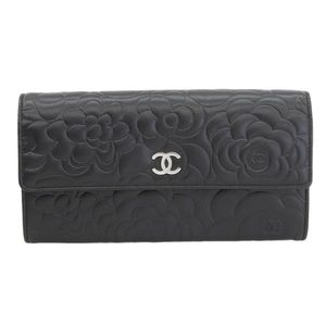 CHANEL Chanel Lambskin Camellia type long wallet flap black 18 series