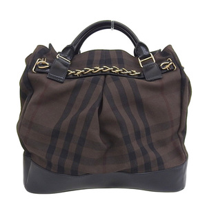 BURBERRY LONDON Burberry Wire Check Tote Bag Brown Black Ladies
