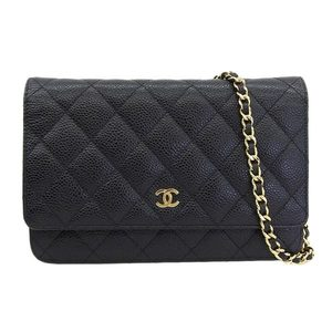 CHANEL Caviar Skin Matrasse Coco Mark Chain Wallet Black 21 series